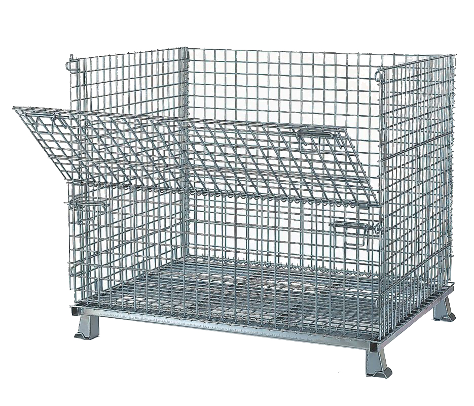 48 x 40 x 38 – Wire Bulk Container Collapsible with 1/2 Drop Door